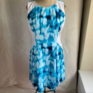 T Tahari 16 Ikat Abstract Print A-Line Dress Blue